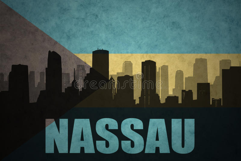 Abstract silhouette of the city with text Nassau at the vintage bahamas flag. Background stock illustration