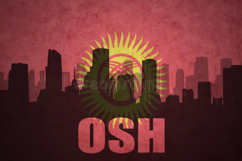Abstract silhouette of the city with text Osh at the vintage kyrgyzstan flag stock illustration