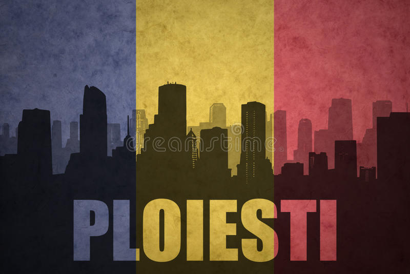 Abstract silhouette of the city with text Ploiesti at the vintage romanian flag royalty free stock photography