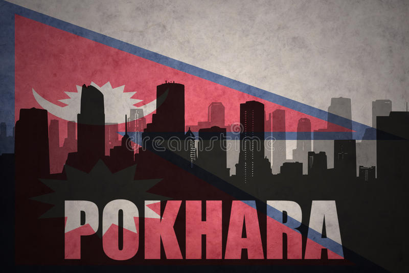 abstract silhouette of the city with text Pokhara at the vintage nepal flag stock illustration