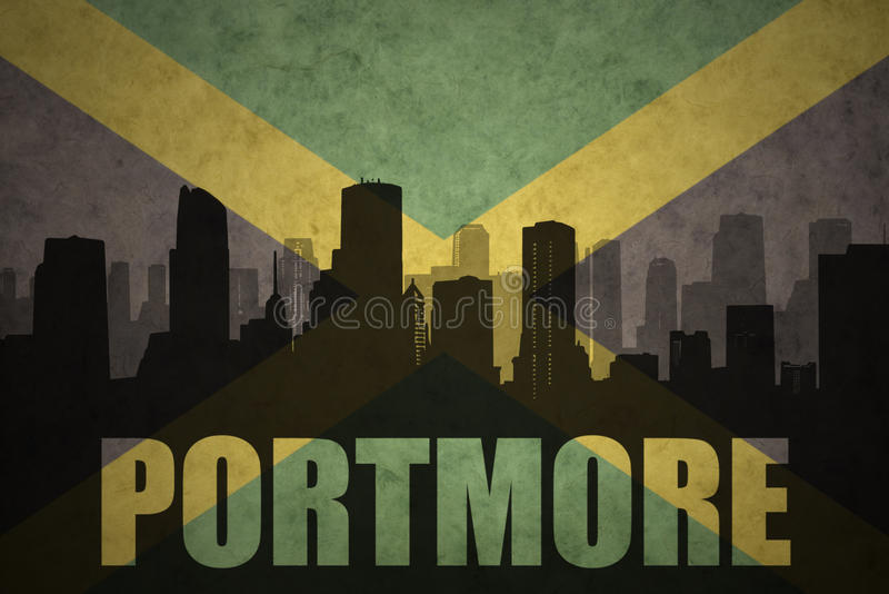 Abstract silhouette of the city with text Portmore at the vintage jamaican flag stock photo