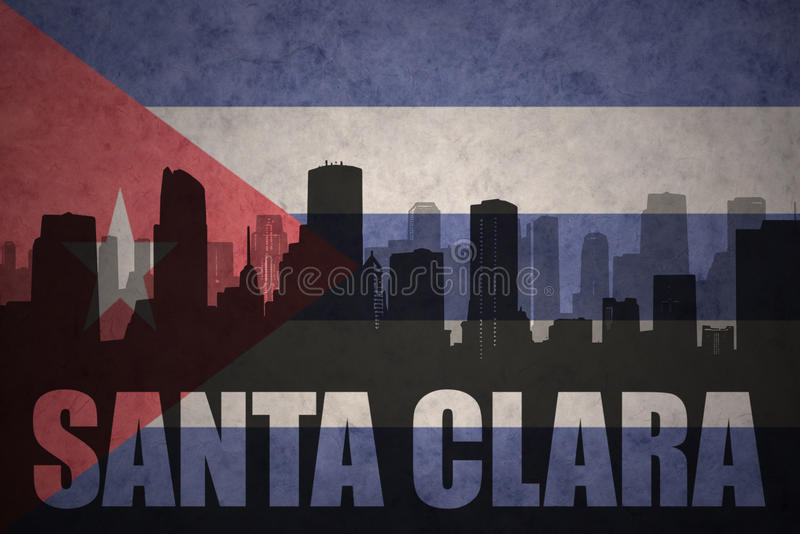 Abstract silhouette of the city with text Santa Clara at the vintage cuban flag. Background royalty free illustration