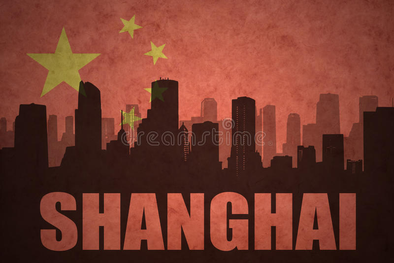 Abstract silhouette of the city with text Shanghai at the vintage chinese flag royalty free illustration
