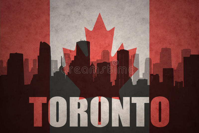 Abstract silhouette of the city with text Toronto at the vintage canadian flag vector illustration