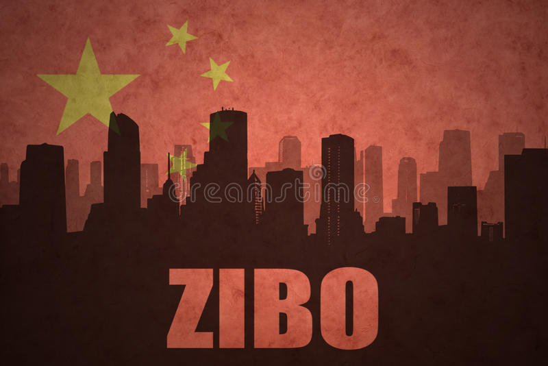 Abstract silhouette of the city with text Zibo at the vintage chinese flag. Background royalty free stock images