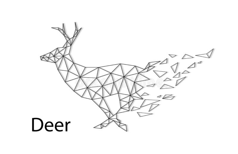 Abstract silhouette of a deer from collapsing polygons stock illustration