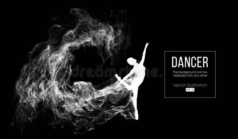 Abstract silhouette of a dencing girl, woman, ballerina on the dark, black background. Ballet and modern dance. Abstract silhouette of a dencing girl, woman stock illustration
