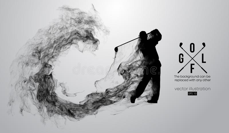Abstract silhouette of a golf player, golfer on the white background. Golfer kicks the ball. Vector illustration. Abstract silhouette of a golf player, golfer on