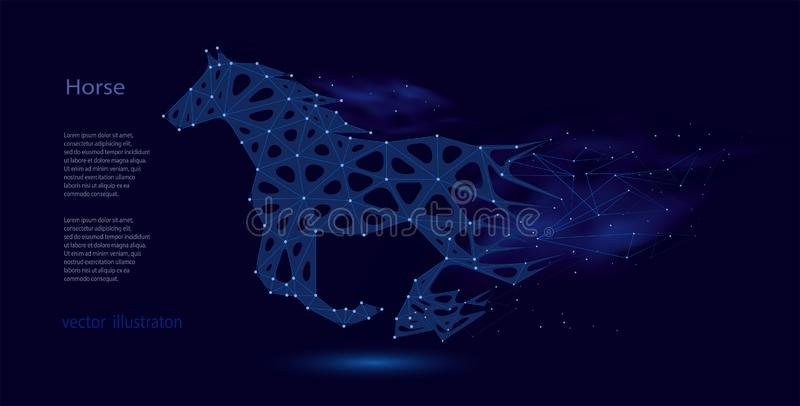 Abstract silhouette of a horse from collapsing polygons vector illustration