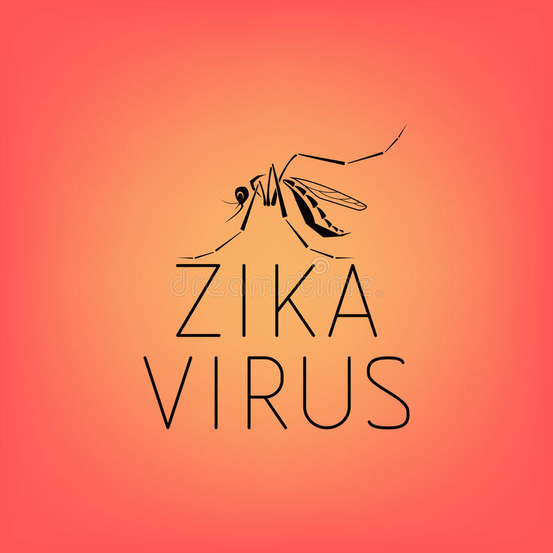 Abstract silhouette of a mosquito with text virus Zika. On red background. Carrier of the Zika virus. Line icon of virus Zika vector illustration