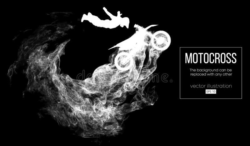 Abstract silhouette of a motocross rider on dark black background from particles dust, smoke, steam. Vector illustration. Abstract silhouette of a motocross