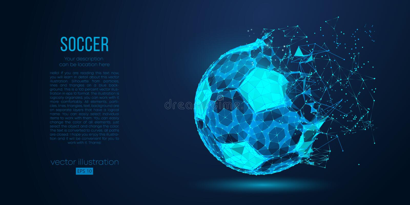 Abstract silhouette of a soccer ball from particles lines and triangles on blue background. Football vector illustration. Abstract silhouette of a soccer ball royalty free illustration