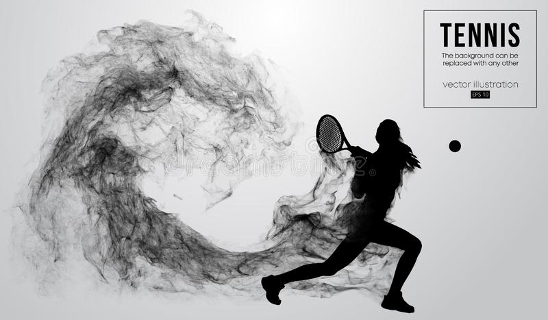 Abstract silhouette of a tennis player woman girl on white background from particles. Tennis player hits the ball. stock illustration