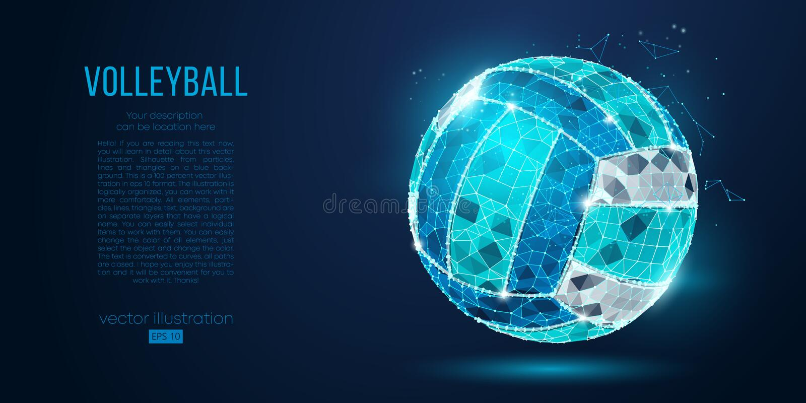 Abstract silhouette of a volleyball ball from particles, lines and triangles on blue background. Neon light. Vector. Abstract silhouette of a volleyball ball stock illustration