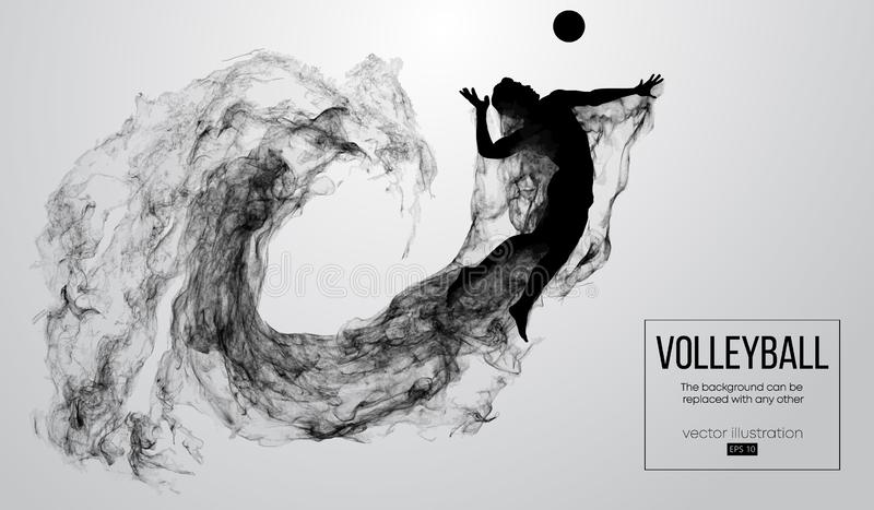 Abstract silhouette of a volleyball player man on white background from particles. Vector illustration. Abstract silhouette of a volleyball player man on white