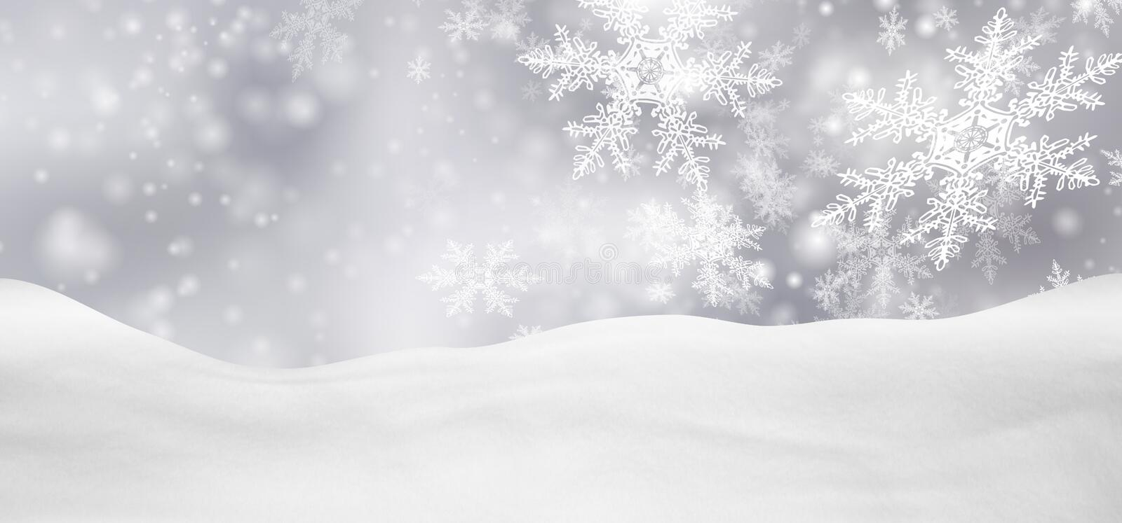 Abstract Silver Background Panorama Winter Landscape with Falling Snowflakes royalty free stock image