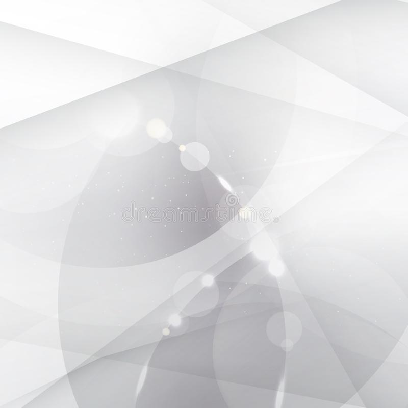 Abstract silver background with white and gray geometric, lines, circles overlay and lighting effect. royalty free illustration