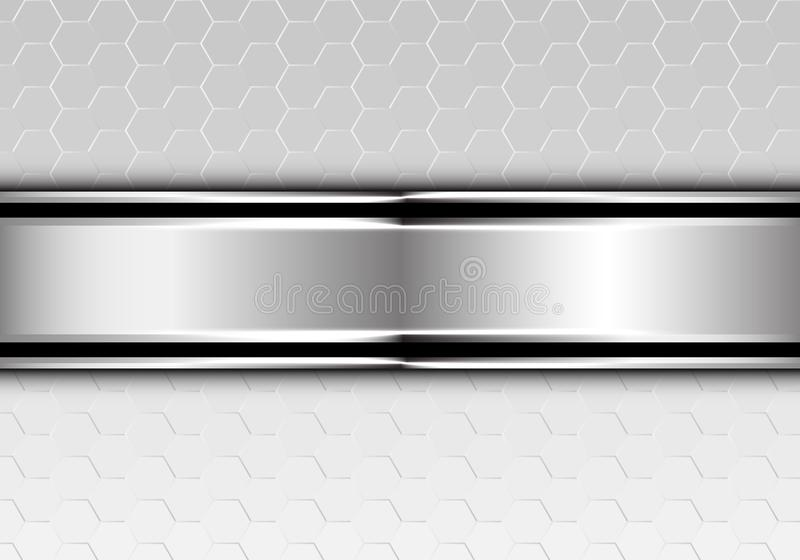 Abstract silver black line banner overlap on metallic hexagon mesh design modern futuristic background vector vector illustration