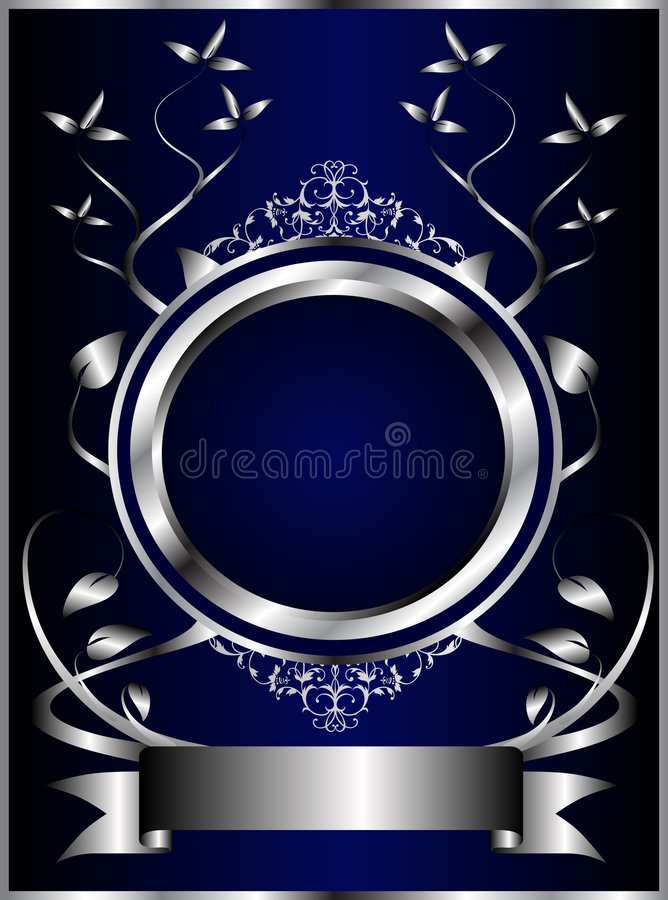 Abstract Silver and Blue Floral Background royalty free illustration