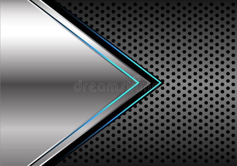 Abstract silver blue light arrow direction on dark grey metallic circle mesh design modern futuristic background vector vector illustration