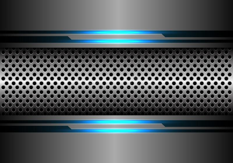 Abstract silver circle mesh in grey metal blue light line energy design modern futuristic technology background vector royalty free illustration
