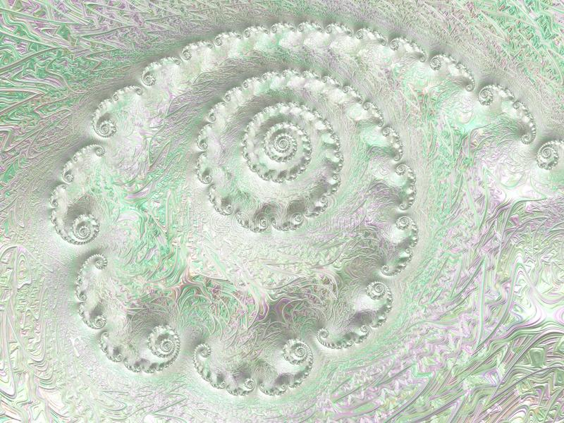 Abstract silver light green textured spiral fractal, 3d render for poster, design and entertainment. Background for brochure,. Website and flyer royalty free illustration