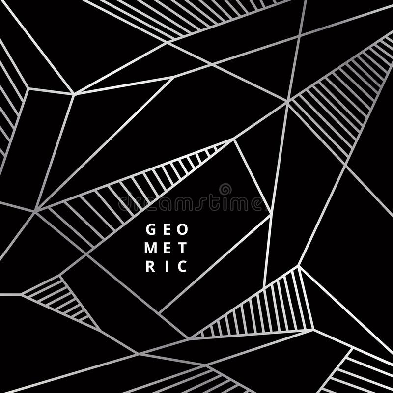 Abstract silver line geometric on black background luxury style vector illustration