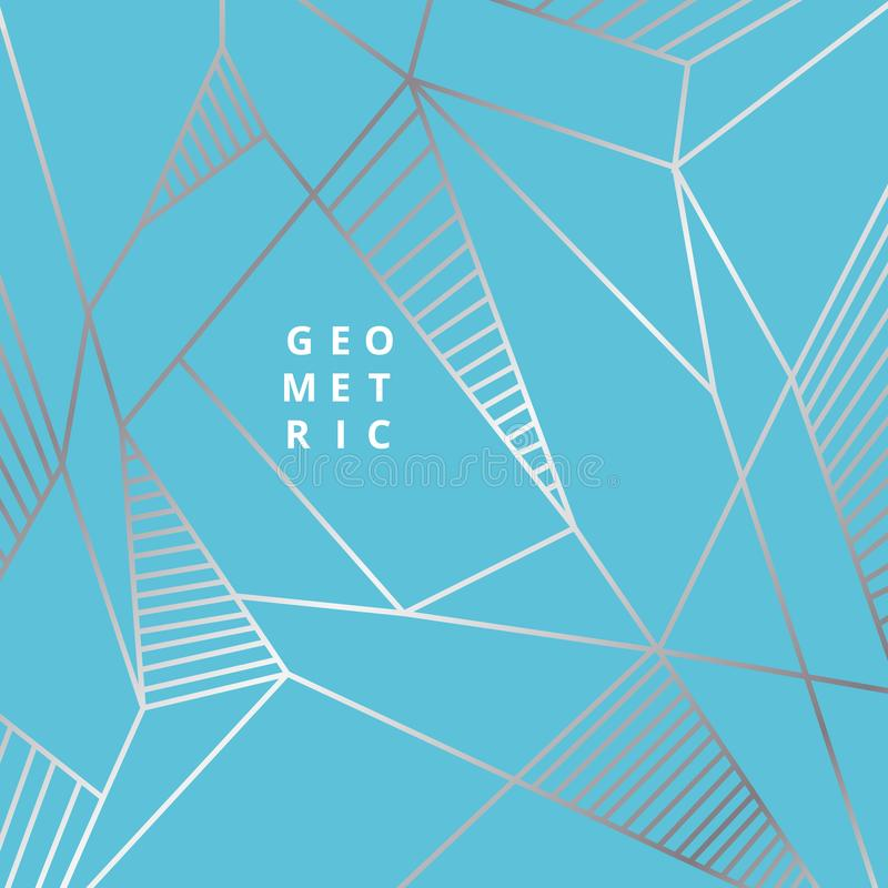Abstract silver line geometric on blue background luxury style stock illustration