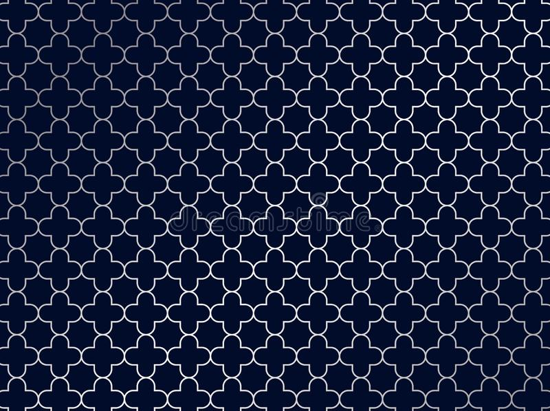 Abstract silver moroccan pattern on blue background vector illustration