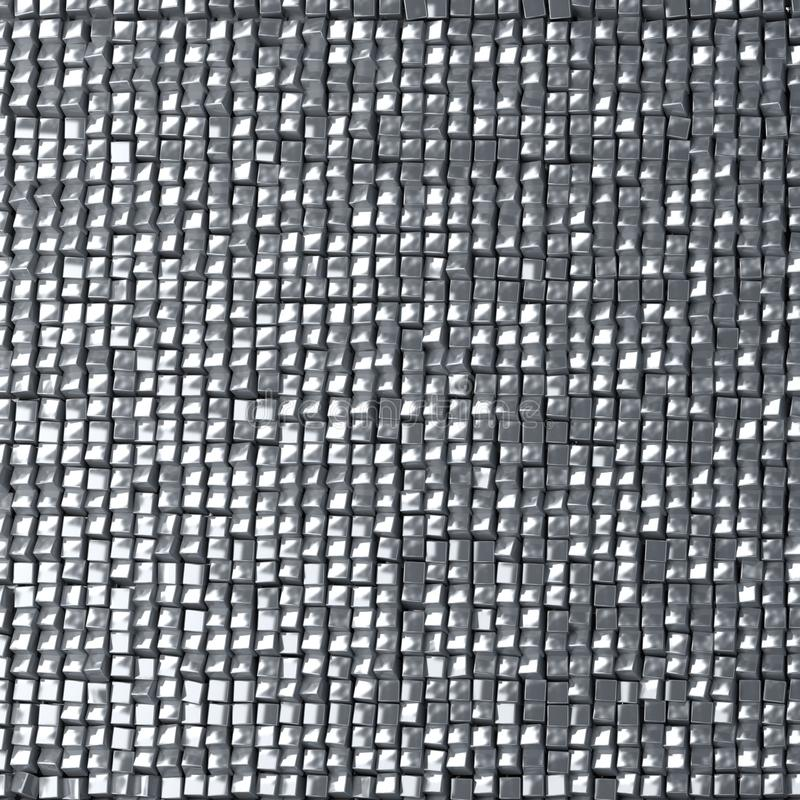 Abstract Silver Pixel Background, Made Of Metallic Cubes