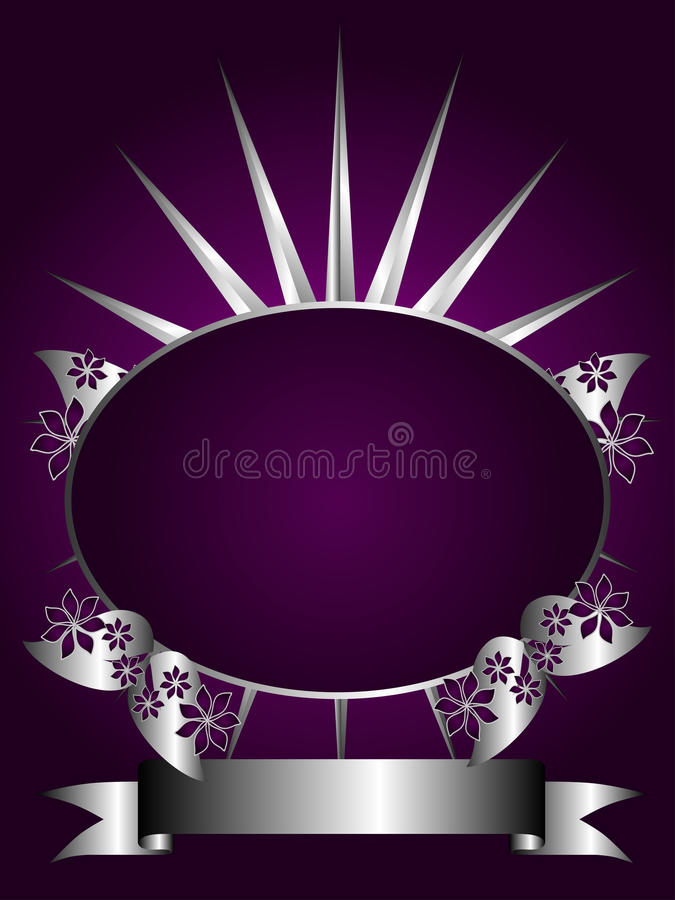 Abstract Silver and Purple Floral Vector Design vector illustration