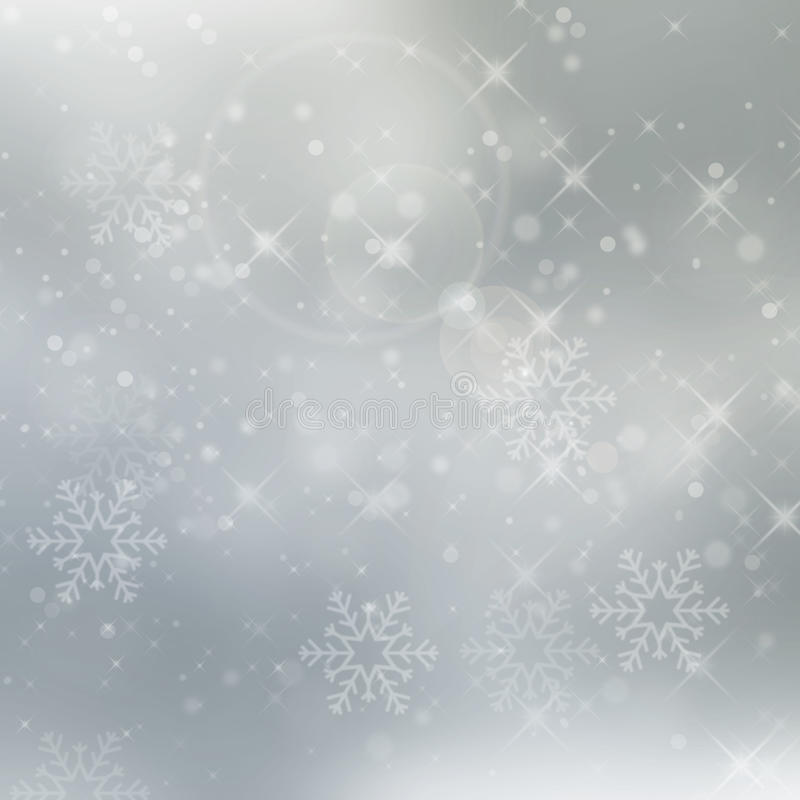 Abstract silver winter background with snowflakes. And stars for christmas royalty free stock photo