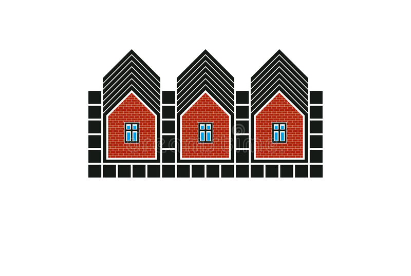 Abstract simple country houses vector illustration, homes image. stock illustration