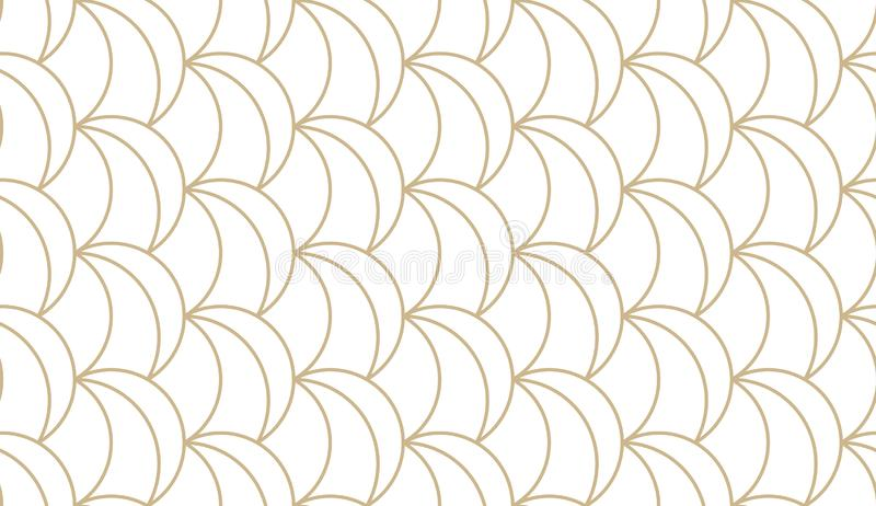 Abstract simple geometric vector seamless pattern with gold line texture on white background. Light modern simple royalty free illustration