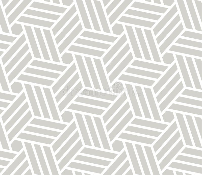 Abstract simple geometric vector seamless pattern with white line texture on grey background. Light gray modern. Wallpaper, bright tile backdrop, monochrome royalty free illustration