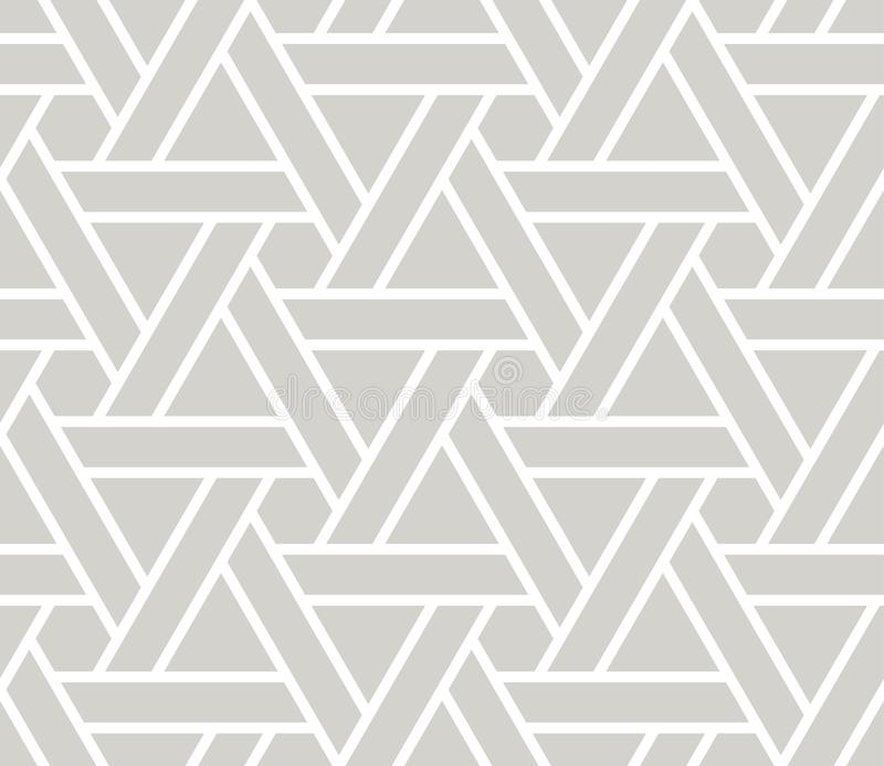 Abstract simple geometric vector seamless pattern with white line triangular texture on grey background. Light gray stock illustration