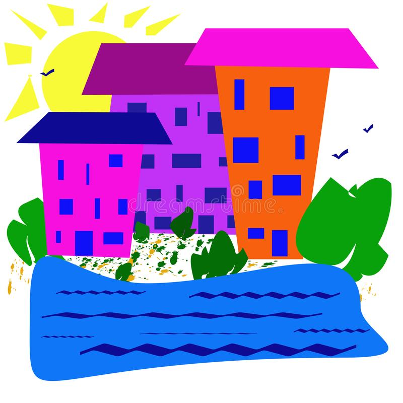 Abstract simple image. Sunny day, houses near a reservoir. stock illustration