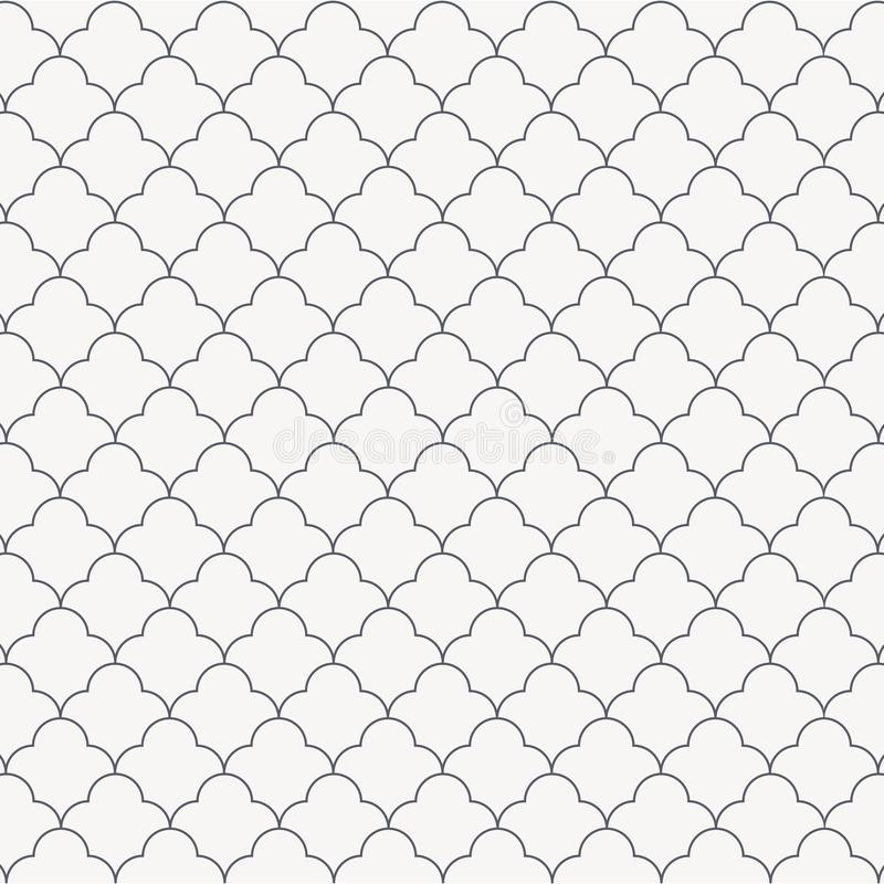 Abstract simple linear flower, monochrome stylish repeating with circles. graphic clean for fabric, wallpaper, printing. Pattern is on swatches panel royalty free illustration
