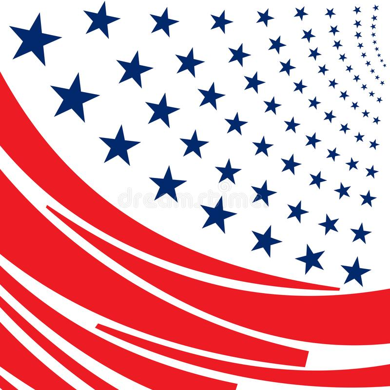 Abstract simple red stripes and rows of blue stars royalty free illustration