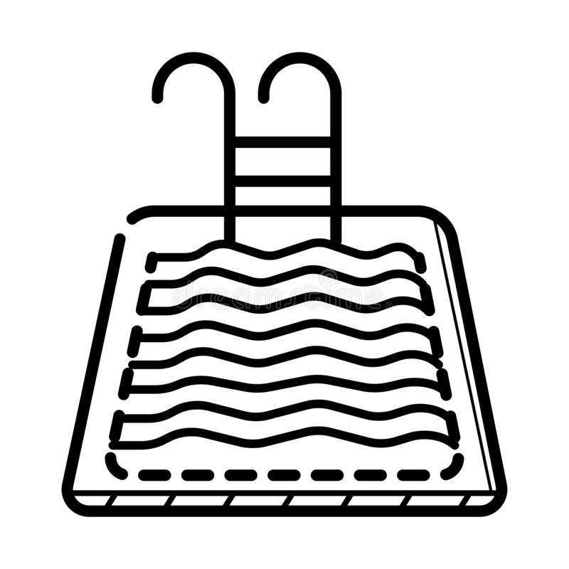 Abstract simplistic pool icon in line style with shadow. Small pool silhouette with water waves. Swim stock image royalty free illustration