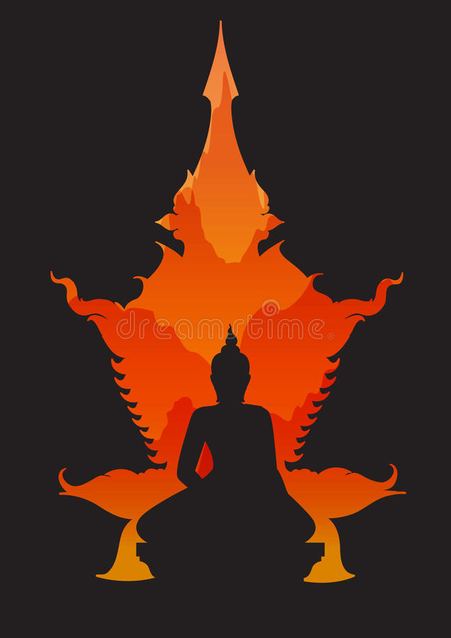 Abstract sitting Buddha silhouette. Vector illustration vector illustration