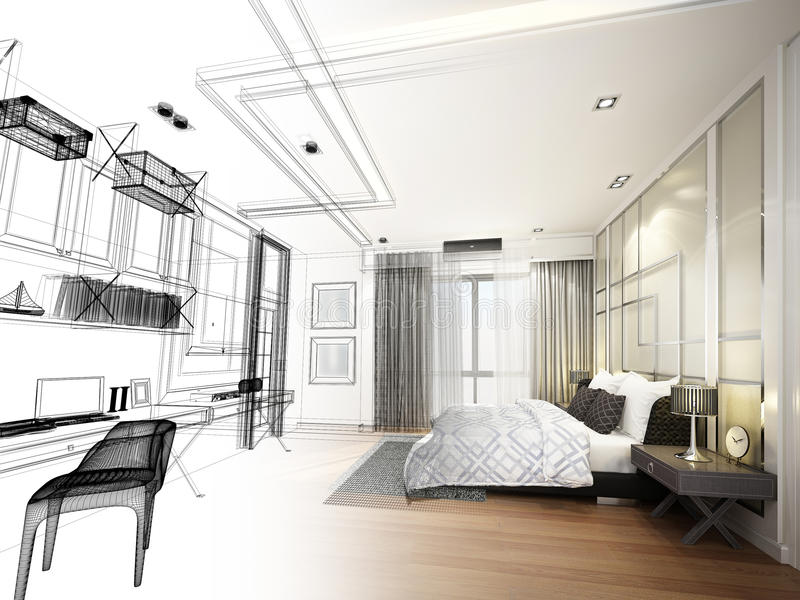 abstract sketch design of interior bedroom,3d rendering royalty free illustration