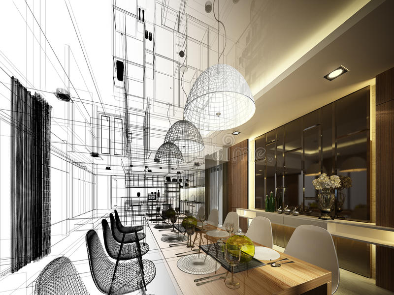 Abstract sketch design of interior dining stock image