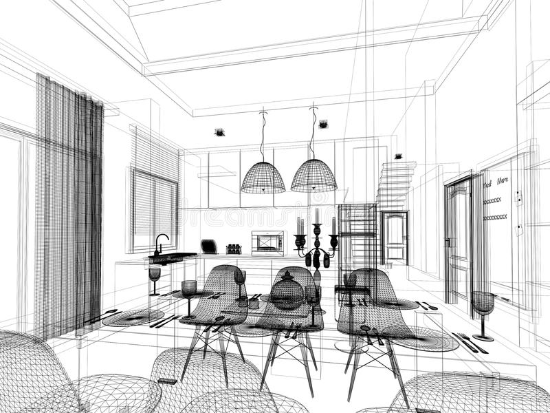 Abstract sketch design of interior dining and kitchen room for Boceto muebles