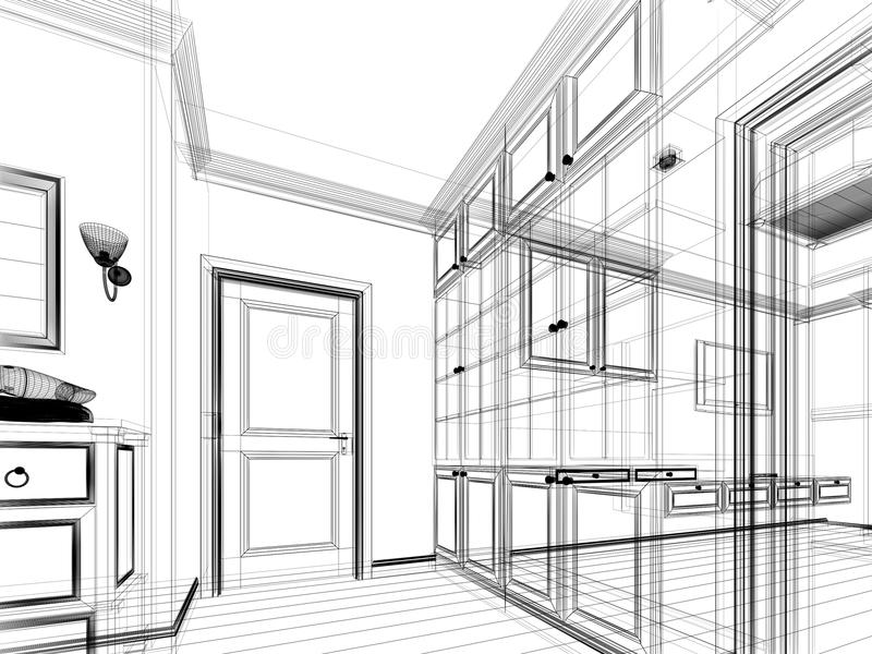 abstract sketch design of interior walk
