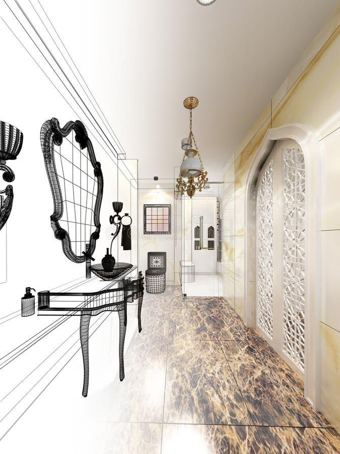 Abstract sketch design of luxurious interior bathroom. 3d design interior royalty free illustration