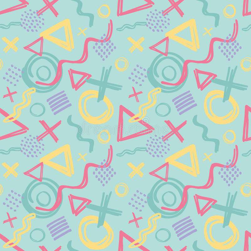 Abstract sketch drawing background vector seamless pattern in fashion retro style of Memphis italian design group 80s for. vector illustration