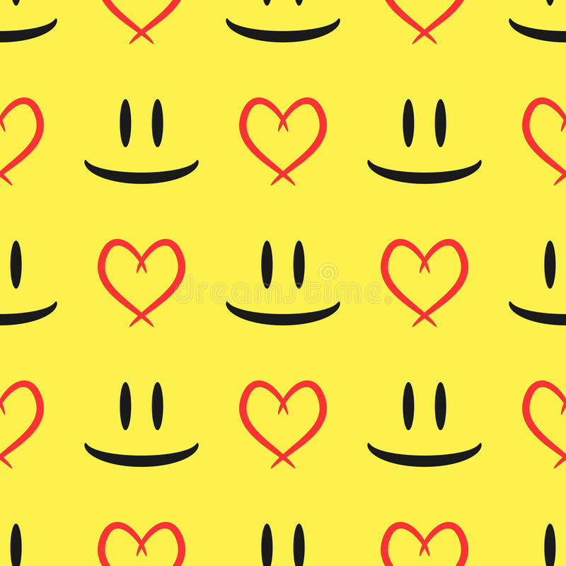 Abstract sketch of the eyes and smiling mouth. Contour of the heart. Seamless pattern. stock illustration