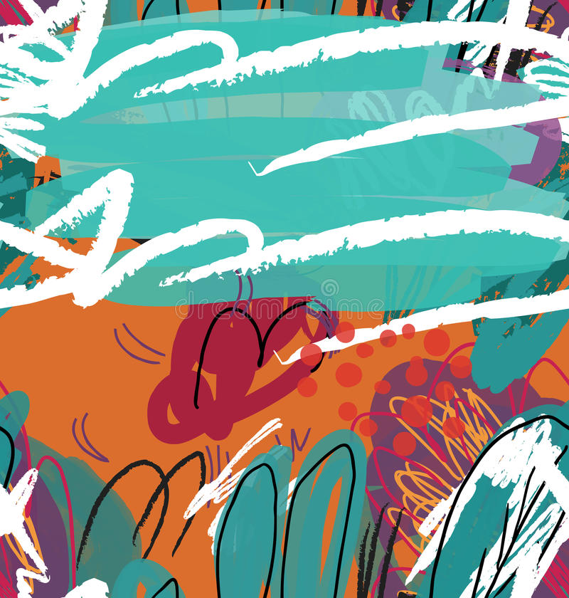 Abstract sketched garden trees green and orange royalty free illustration