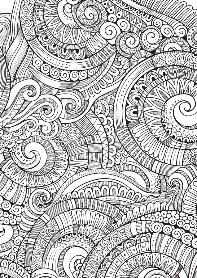 Abstract sketchy decorative doodles hand drawn ethnic for Coloring pages with lots of detail